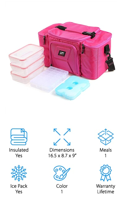 You're not getting a 6 pack meal prep bag, but one that's definitely going to hold everything you need for a day. It's BPA, lead, PVC and phthalate free and comes with 3 snap lids, 2 gel packs and a pill container as well as 2 pockets. That means you can carry everything you want and keep it all organized and warm or cold for 3 hours or more. If you're not happy with it there's even a satisfaction and money back guarantee. The bright pink color is definitely sleek and stylish and all of the containers fit easily into the bag in an insulated section. Set it up just how you like and then all you have to do is pack the meals and head out for the day.
