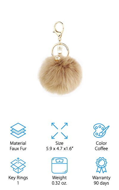 Who doesn't love a cute and fun keychain to put on their keys? This one is made with faux fur and even has an accent piece of an artificial pearl. The small ball is definitely fluffy and adds a little bit of whimsy to your key chain. It even has a simple to use clip to attach it and a key ring that you can use to attach other keys. Great for adults or children, it even comes in a range of different colors for your own personal style. All you have to do is wash it when it gets dirty and it will last for a long time to come. This inexpensive piece is great as a little gift or it will look great on your own keys. There's no reason your keys need to be boring after all. Make sure that they express you and your own style.