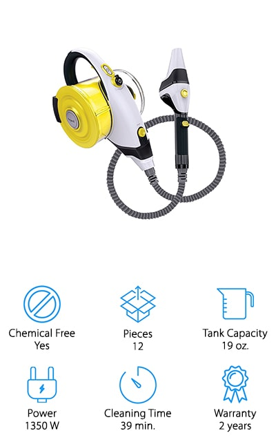 Here we have the best steam cleaner for cleaning grout, which gives you a whole lot of power as well as plenty of reach. THat's because the cord itself is long and so is the hose, with an extended reach. It can get right into tight corners and it uses absolutely no chemicals so it's safer around your family. It even sanitizes and gets rid of bacteria, mold, mildew and bed bugs. All of this can be done in up to 39 minutes, without having to worry about charging it up or filling it back up again. The tank holds up to 19 ounces of water at one time and the boiler system gives you superheated steam even faster. Not only that but it works on appliances, countertops, toys, mattresses and a whole lot more.