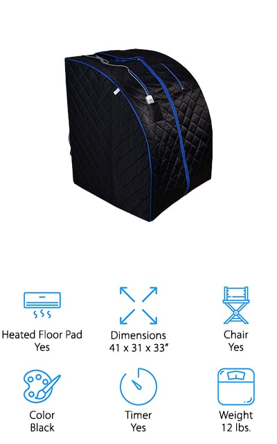 Last up in our reviews is another taller infrared sauna from ALEKO that's perfect for using at home, or take it on your next vacation! We liked this portable sauna because it's super lightweight at only 12 pounds! You can easily set up and tear down this sauna for easy storage and travel, and it includes everything you need to get started. The remote allows you to set the heat level and timer settings from 5-60 minutes, which is great for beginners who need to work their way up to more vigorous heat sessions. There is a folding chair that's sturdy and comfortable, and the heated floor pad keeps your feet comfortable. We also like the removable and washable cloth neck opening because it'll feel soft and cozy on your neck while you watch television, read a book, meditate, or listen to music. This is the best far infrared sauna for all sizes, and works hard to help you relax!