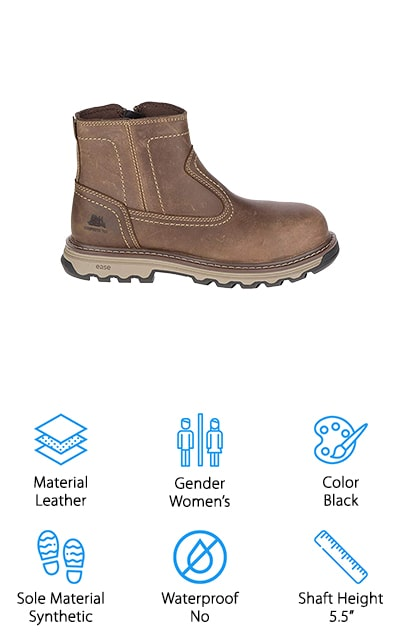 Our final review is another great option for a woman's pull-on work boot, this time from Caterpillar! These boots have everything you need to keep your feet safe on the job site! The leather is thick and works hard to protect your feet from the weather, harmful chemicals, and unwanted dirt or grime. We like that the shaft height is tall enough to protect the ankles, while still being easy to tuck under jeans for a classic look. To provide even more protection to your toes, these boots use a carbon fiber toe cap that gives you the same level of protection as a steel toe without the added weight. The soles are made of a synthetic material is slip resistant and rated to protect against electrical hazards, so you can use these for doing electrical work! They also come in 3 colors, so you can choose the look you want to match up with your work uniform or gear!