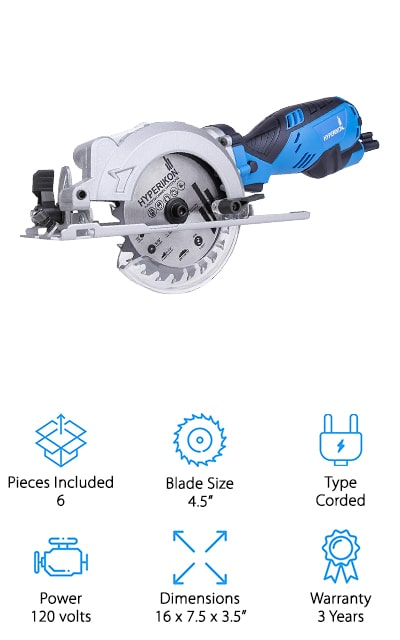 When looking for the best worm drive circular saw, we wanted to find one with the power of a large worm drive saw, but in a compact design that's easy to use. This saw from Hyperikon is one of our favorites because it does both! We like this saw because it has all the power you need to cut through wood, yet it's lightweight enough you can use it all day without getting tired! The blade cuts up to 1.8 inches deep, and you can also adjust the angle up to 45 degrees to make the perfect miter cuts when trimming framing or molding! It's also easy to see the blade for even better control, thanks to the blade being on the left side. To keep you safe, this saw has a blade guard you can lock in place, safety unlock push button, and a spindle lock button to prevent the machine from starting when you don't want it to!