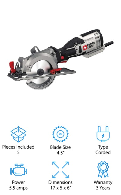 Our final review is for this compact and lightweight circular saw from Porter-Cable that you can use to do home improvement projects like laying flooring, building a new deck, or even make yourself some furniture for your space! We liked this mini circular saw because it truly is compact, making it great for use in tight spaces, or for storing in your garage or closet when not in use. The 4.5-inch blade cuts through wood quickly and accurately, and you can also buy additional blades to cut things like tile, brick, metal, and much more. We also like that adjusting the depth and angle are easy, thanks to tool-free levers that are bright red and easy to find while working. It also has a vacuum port so you can attach it to your shop vacuum, and it will keep your work area clean! We think this is a great circular saw to use for home improvement and professional projects alike!