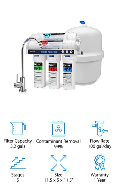 Our final review is for this compact but hard-working system from FS-TFC that is perfect for a large family! The 5-stage filtration system removes up to 99% of harmful impurities, chemicals, metals, viruses, and more things we definitely don't want in our drinking water. It produces up to 100 gallons of pure, clean, tasty drinking water every day, so you can use it for a lot more than just drinking! Clean drinking water can improve the flavor of coffee, tea, soup, and even your pets will love the taste of it! This system only produces a 1:1 waste ratio, making this an incredibly efficient system that won't push up your water bill! Installation is a breeze, thanks to everything being clearly labeled and easy to hook up. The compact design fits snugly under your kitchen sink without taking up too much space! This is a great system to install so you can enjoy better tasting water, beverages, and food!