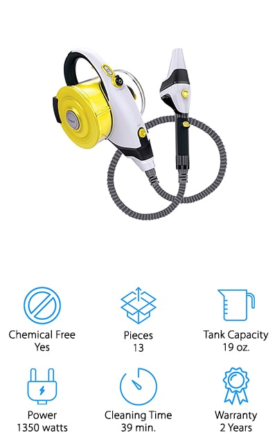 Last up in our best portable steam cleaner reviews is this tiny powerhouse steamer from Nugeni that you can carry around the house to do all your cleaning tasks in a short afternoon! We like that this steam cleaner creates up to 39 minutes of continuous, hot steam in one tank, which means fewer stops to the sink for refills! It also has a 28-foot cord, so you don't have to keep shutting off the steamer every time you need to find a closer wall socket. The compact design is easy to carry, and it comes with a shoulder strap for added comfort. We also like that it comes with a variety of accessories to help you clean windows, mirrors, curtains, tile grout, stovetops, and much more! Nugeni also donates a portion of their profits to water.org, a charity that works to provide clean water all over the world – so you can do something good for others with your purchase!