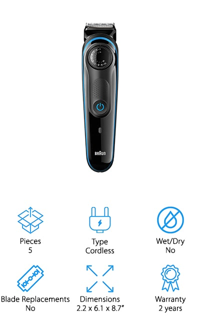 Braun is last on our list, but that doesn't mean that it's any less powerful than the other trimmers we've presented so far! This amazing cordless device will run for about 60 minutes with a full 8-hour charge. There are a total of 39 different length settings for each and every type of beard. These are presented in 0.5mm steps, allowing you to get the exact length that you want without having to settle for less. The blades will last the lifetime of the device because they are self-sharpening and won't wear down even after use on coarse, thick hair. Its waterproof and you can run it under water to clean it, however, you should only use it outside of the shower. One of the coolest parts of this trimmer is that it comes with a Gillette Flexball Razor as well for smaller, more precise areas. For all types of trimming and grooming, choose Braun's BT3040.