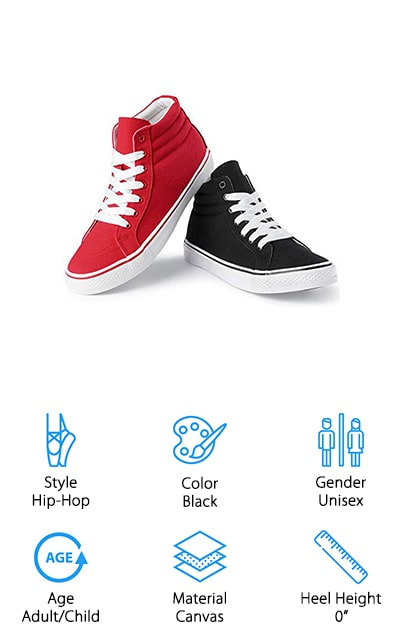 The last shoes on our list are these Hip-Hop dance sneakers that are some of the best shoes for aerobic dance. They are made of canvas and come in a universal size that you adjust personally. For women and girls, you must order the same size as your regular shoe to get the perfect fit. Men and boys should order two sizes larger than the shoes they regularly wear to get the same perfect fit. They are high-top dance sneakers with great support that include a padded collar. The cotton lining makes it comfortable and breathable, while the rubber outsole gives you added durability and won't mark up any surfaces you're dancing on. These are some of the best shoes for dance cardio because they allow you to groove without slipping and sliding. When you're looking for sturdy shoes to support your dancing wherever these are the sneakers you need! They work especially well for street and hip-hop dancing performances.