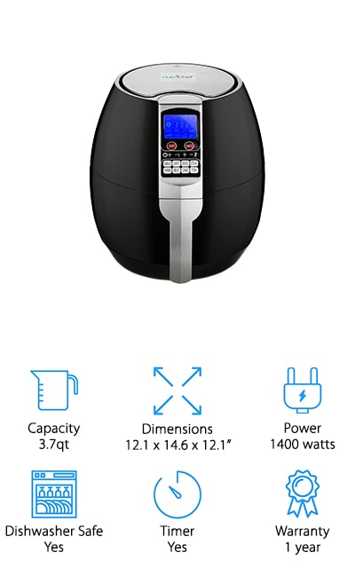 NutriChef is one of the leading names in chef and kitchen appliances, and this 3.7-quart portable air fryer is just as well-made as their other devices. It's small enough to be portable, which is especially useful if you happen to be cooking at a friend's. It comes with a digital LCD display that you can use to change all of the settings, including the timer (which you can set up to 30 minutes at a time). Temperature is also adjustable, and it runs from about 176 degrees to 392 degrees so you can cook just about anything. We love that the temperature on this one is adjustable. It can fit on your countertop and get the perfectly crisp fry on your food without the oil, which makes it contain less fat overall. The cooking pan and basket are dishwasher safe, while the rest of the machine can be wiped down easily! You're going to love how great food tastes!