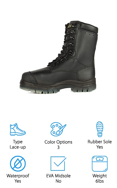 Oliver makes these insulated work boots that use the Thinsulate lining system for comfort even in subzero temperatures. If you need a hiking boot or work boot for long days in extremely cold weather, these are the boots for you. They even include a SympaTex waterproof membrane that keeps moisture out while allowing air in, keeping your feet cool and comfortable throughout the day. They are lightweight shoes, weighing about 3 pounds each. On top of all of that, they are extremely comfortable, with the polyurethane midsole and shock-absorbing properties. The upper, which is chiefly made of leather, resists all oils, alkalis, acids, oils, and even animal fats. Whatever you need these shoes for, they are more than up to the task. Plus, they are rated for electrical hazard and resistant to heat up to 266 F degrees. These boots can handle whatever you throw at them, whether it's the elements or long days on your feet.