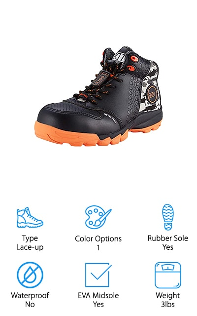 DDTX makes these microfiber leather composite toe boots. They are equipped with a rubber sole that also contains EVA foam to boost shock absorption and resist slipping in conditions that might otherwise make you lose your footing. The traction of these shoes is amazing. They are made with long work days or long hikes in mind because they come with deodorant insoles that give you comfort, reduce fatigue, and keep odors down. There is a mesh lining on the inside to allow your foot to breathe and increase airflow. The uppers have sections of camouflage fabric and include a strip of reflective material specifically for game hunters. You can use these shoes for just about any purpose, and they will work just fine. They are completely non-metallic as well, so they are safe to go through the airport. These shoes are comfortable, high-quality, lightweight composite toe boots so you can feel great after your long days.