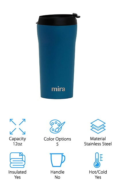 MIRA makes this travel mug that will do really well in your car. For long road trips, go with the MIRA mug. You can keep your coffee hot for up to four hours, which is great if you're getting it at different gas stations along the way. Otherwise, keep cold drinks chilled for up to 8 hours. All parts of the plastic lid are made of BPA-free materials and are free of toxins so you can drink without worry. The 12-ounce version of this mug holds just enough coffee to get you through a tough morning or a long stretch of road without overdoing it. It's got a powder-coated finish so you can keep hold of it even while you're driving, and you can use it for just about any drink that isn't carbonated. It's a stainless steel triple-wall system that will keep the outside cool and sweat-free no matter what is inside. Turn to MIRA for consistently hot beverages.