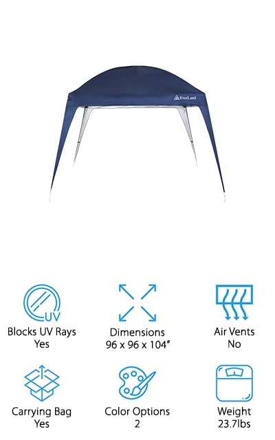 Freeland makes the only pop-up canopy on our list with a rounded roof design. It also has slanted legs so that get more stability in the long run. When you're planning a festival or headed to the beach, you will be happy to have your pop-up canopy along. It includes a carrying bag to take with you wherever you need a cover, as well as wind ropes (or guy lines) to provide additional stability in light winds. If the wind is heavy or it rains for a long time, you should pack this canopy up. It's ideal for sunny, breezy days, though! You can use it during recreational sports activities such as kids' soccer games. It provides about 64 square feet of shade, so it's a great single-family shade for camping or parties. There are two different adjustable heights so you can choose the one that works best for you. It also blocks 99% of UV rays, which is amazing.