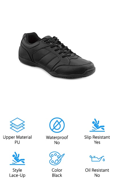 Last up is a great pair of non-slip waitress shoes, the SR MAX Rialto Athletic Sneaker. They feature a PU upper with a tie closure so you can tighten them to get a snug, secure fit. Inside, a padded collar provides a bit of ankle support and prevents any uncomfortable rubbing. The nylon mesh and tricot lining is soft and smooth against your skin and the soft toe is flexible and comfortable. An EVA insole provides the right amount of support for your feet don't hurt after a long shift at the restaurant. That's not all, the low-profile MaxTrax slip-resistant rubber sole keeps you on your feet even when you're facing a messy spill. And here's the best thing about these shoes. They come in 3 different widths: medium, wide, and extra-wide.