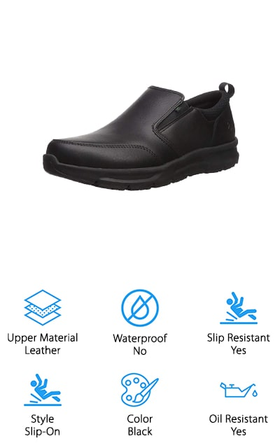 Another great shoe from Emeril Lagasse is this Quarter Slip-On Food Service Shoe. One of the best things about it is the leather. Why? Because it's specially treated so it's hydrophobic which means that when it comes in contact with any liquid, it literally beads and rolls right off. This shoe also features a pull-on tab so it's easy to get on and it has a gusseted tongue to keep out crumbs and debris. Because these shoes were designed specifically for food service professionals, they have an oil and slip resistant surface that keeps you on your feet on wet or greasy floors. Inside is the B.A.M. Memory Foam insole which consists of 2 layers of molded memory foam which provides 24-hour comfort. There's also an antimicrobial lining that prevents odor.