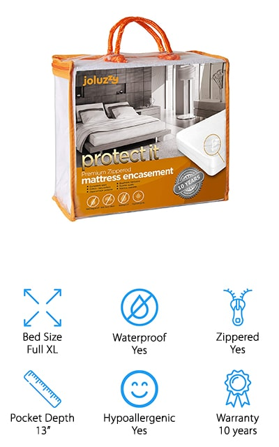 Last but not least in our bed bug mattress encasement reviews is the joluzzy Zippered Mattress Protector. It protects against bed bugs, dust mites, allergens, and bacteria. This material is hypoallergenic, too, which makes it great for anyone with breathing problems like asthma or who suffers from eczema or other skin conditions. It's breathable, soft, and comfortable plus the terry cloth surface is breathable and helps wick away moisture so you can get the most comfortable sleep possible. The polyurethane backing makes this material waterproof and a good choice for a kid's bed. It protects against any spills or bedwetting accidents that can happen overnight. This zippered style protects your mattress on all 6 sides and is easy to remove and toss in the washing machine when it gets dirty.