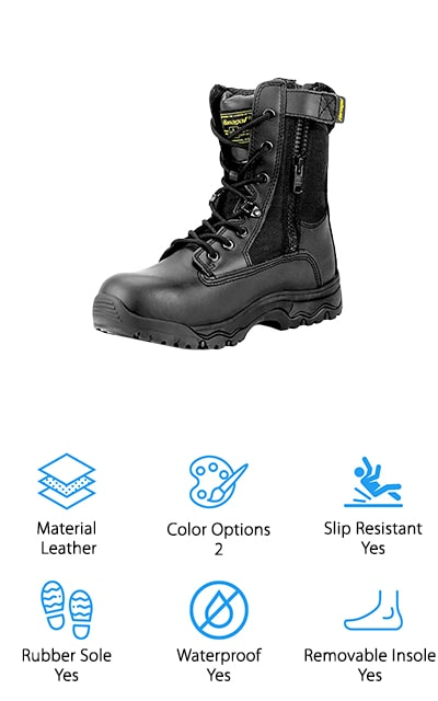 Next up are the Hanagal Escalade Tactical Boots. These durable, lightweight boots have a suede leather upper with breathable mesh panels to help air circulate through. A 6-inch side zipper makes getting them off and on really easy and the tie-up front lets you adjust the fit as snug as you like. A slip-resistant rubber sole keeps you on your feet in any type of terrain and, since they're waterproof, you don't have to worry about rain or snow holding you back, either. There's more, each boot has a small pocket on the outside, the perfect place to put a lighter, some cash, or clip on a small flashlight. These boots come with a 100% satisfaction guarantee and a 30-day hassle free return policy. They come in 2 colors, black, and sand.