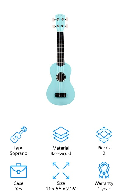 Our last pick for best beginner ukulele is the POMAIKAI Soprano Ukulele. It features a high-quality basswood body and black hardwood fingerboard for the best possible sound quality. This soprano size is small, lightweight, and easy to carry around plus there's a case included to protect it from any damage while on the go. The fingerboard is smooth and the frets were designed so as not to scratch your fingers. Combined with the flexible nylon string, they create a smooth and easy playing experience. This uke comes with a 60-day money back guarantee as well as a 1-year warranty against any manufacturer's defects from the date of purchase. One more thing, this instrument is available in 7 different colors so you can pick one and make it truly your own.