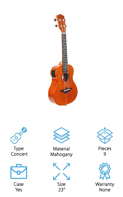 The AKLOT Beginners Concert Ukulele features a solid mahogany soundboard for a soft, clear sound with warmer tones than you can get from a laminated one. It also gives better resonance and a more stable sound. Copper gears allow for smoother and more accurate tuning that lasts longer than zinc alloy or other metals.  This ukulele includes Aquila strings and a strengthened neck and soundboard that add more durability. You also get a lot of beginner bonuses with this uke, including an instruction booklet, cleaning cloth, 2 felt picks, strap, and case. That's not all, AKLOT also provides access to beginner videos on their website where you can learn about everything from cords to strumming and more. There are 9 lessons in all and they're an interesting way to start playing or to learn a little more about your craft.
