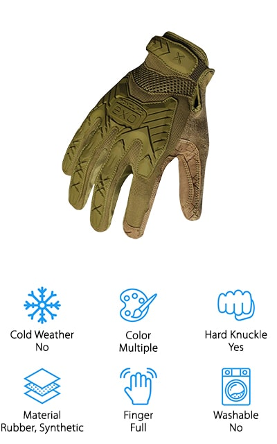 We're calling the Ironclad Tactical Impact Gloves the best tactical gloves for cold weather because they have a synthetic leather construction that will do the trick when the temperature stops to drop. That said, they're not insulated so they aren't necessarily warm tactical gloves meant for sub-zero temperatures. Impact protection and thermoplastic rubber on the back of the hand and protects your knuckles and metacarpals. And get this, Ironclad uses a 16-point measurement system that makes them some of the best fitting gloves around. They fit snugly without adding any unnecessary bulk and feature an adjustable velcro wrist strap and reinforced palm for vibration reduction. You can toss these gloves right in the washing machine and they won't dry out or shrink. While they're not waterproof, they do dry quickly.