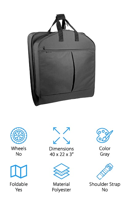 This airline carry on garment bag is actually quite simple because it's very similar to a standard garment bag that folds in half to make it easier for you to transport. It comes in a range of different colors for your personal preference and has a hanger clamp to keep everything right where you put it. It can hold up to 6 items in the hanger clamp and it has pockets to store some of your accessories at the same time. All you have to do is clip in your hangers, zip up the bag and fold it. You'll be ready to go just like that. This inexpensive bag fits in an overhead bin and it's actually lightweight enough that you can fold it down smaller to fit into a standard suitcase. No matter what you're looking for when it comes to packing you can get it with a simple design.