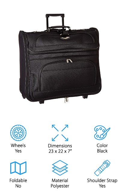 With this garment bag, you're going to have a choice between 4 different colors, which means you can choose a look that's going to match your personal style. It's made with polyester and EVA reinforcement to make it even stronger, ready for anything. It also has corner protected wheels so you don't have to worry about traveling through the airport. The larger compartment in the center holds your suits as well as all the accessories that you may need while you're traveling and it looks great at the same time. When you're ready to carry it, you can choose between wheeling it after you, a handle or shoulder strap with a pad. This bag is large enough to hold everything you're going to need but not too large to get around easily. Not to mention it's not too expensive for most budgets. Whether you need something for a business trip or anything else, it's definitely going to do the job.