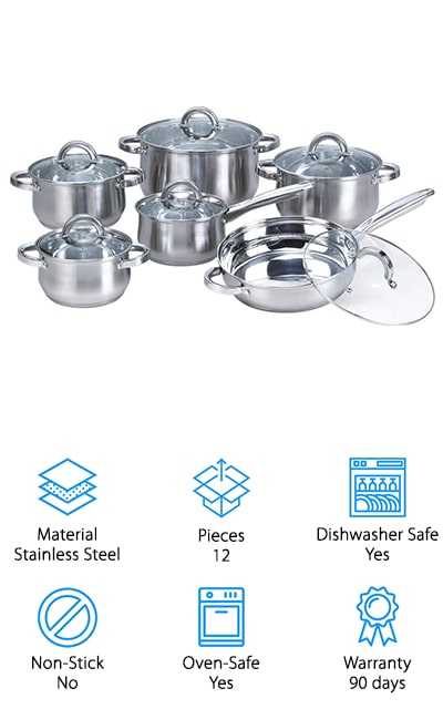 This stainless-steel set features some of the best pots and pans for gas stove cooking. You'll get an inexpensive set that still gives you a sleek design and all the qualities that you need. The pots each have a tapered design that looks great and gives you the even heating that you need. You'll have frying pans, saucepans, and casserole pans that each has a lid to give you more versatility for your cooking. The mirror polish to the stainless steel gives you a bright look on the inside and the outside of the pans and makes them great for any type of stove, from glass and ceramic to electric and gas. Completely oven and dishwasher safe, you also get a 90-day warranty that lets you give them a try before you have to make a decision. If you're not happy for any reason you'll be able to check out your other options.