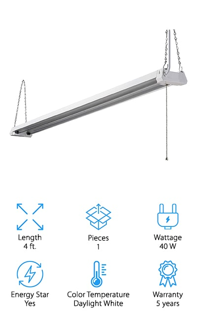 This one is not a Keystone LED shop light, but it is made by a good company, giving you a single light that has a pull cord for easy on and off. It also connects directly to the ceiling or it can be hung off it to fit the style and the needs that you have. Great for a garage or shop, this light has a clear lens and is 4 feet in total length. Energy Star rated and available in daylight white, you're not going to have to spend a fortune or take a lot of time setting up this one. It's just about ready to go in no time at all. You'll get up to 50,000 hours of light with just this one light and you'll have a 5-year warranty that will stand behind the product and let you know you're getting durability as well. There're no questions asked and no hassle when it comes to warranty.