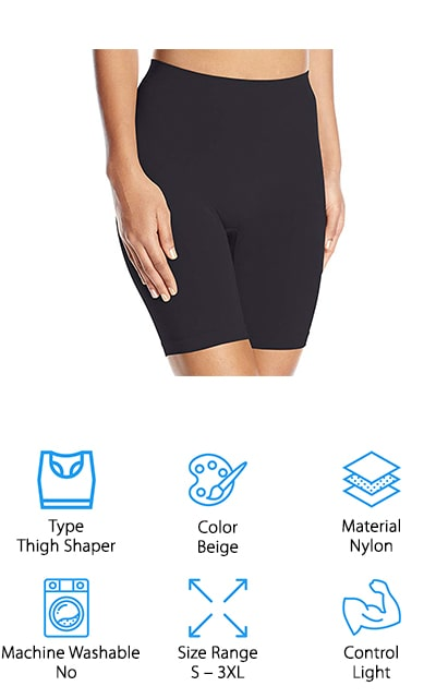 If you are looking for thigh slimmers this is a great way to go. You get to choose between a range of different sets that each come with 2 pairs in different colors. You'll also get to choose larger or smaller packs to get what you need. Available in sizes from small to 3XL, these shorts offer you light control and work best for those who just want a little bit of smoothing without a whole lot of slimming. They are made with nylon and spandex and have a pull-on closure that's easy to use. You'll do best with hand washing these shorts and you'll get a seamless material that doesn't dig in and doesn't ride up throughout the day. You can even use it with other pieces from the same set to get an all-over smooth look.