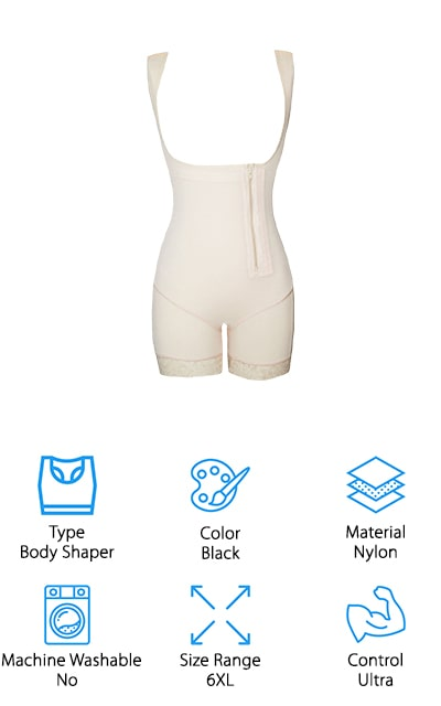 This is a waist cincher plus size shapewear option that you're really going to like because it gives you the ultra-control that you want and the ideal shape that you're looking for. Made with nylon and spandex it's actually a full bodysuit with no seams to dig in over your body. The lace at the bottom gives it a feminine, fun tough and the compression design of the whole suit means you get a slimming effect on your stomach, waist, back, and thighs. What's really great is the results come with breathability and moisture wicking. You get a butt lifter and the slimming effect through the stomach and thighs. You'll also have a button and zipper that make it easy to attach and an open bust that allows you to wear your own bra with plenty of comfort.