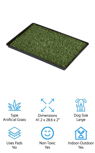 Prevue makes this artificial grass potty that's portable and lightweight. It's super easy to clean – simply remove the tray with the waste and brush through the grass with warm water and a mild detergent. When it's dry, it'll be good as new! The artificial turf has antimicrobial odor control, and it's soft and realistic so your pup won't have a problem if they need to use this occasionally. This particular model is an indoor dog potty for large dogs, though they have other sizes for smaller dogs available. You can use this potty both indoors and outdoors, to help make the transition for a pup in training that much easier. Plus, older dogs that are on the larger side will still be able to have that comfortable, outside feeling with Tinkle Turf. Protect your floors and keep your larger, aging dogs more comfortable with this large-sized artificial grass pad from Prevue Pet Products. You and your dog will love it!