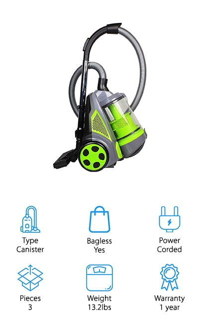 Ovente makes the only canister vacuum on our list. This powerful machine has non-stop suction rated at an amazing 1400 watts. No matter what surface you're cleaning, you can get it done in one pass with this canister vacuum. It's lightweight, which you might not expect, but it only weighs about 13 pounds. Plus, it comes with a ton of attachments to get your surfaces clean, including a brush and crevice nozzle, an upholstery tool, a telescopic metal wand, pet brush, and multi-angle brush. The translucent dust compartment alerts you when it needs to be emptied with an LED light, which can also alert you to a dirty filter. The power cord retracts, and the hose swivels and bends a full 360 degrees to clean in any part of your home. It works to trap allergens and bacteria, so your home is cleaner on multiple levels! You're going to love how spotless your home is with this vacuum!