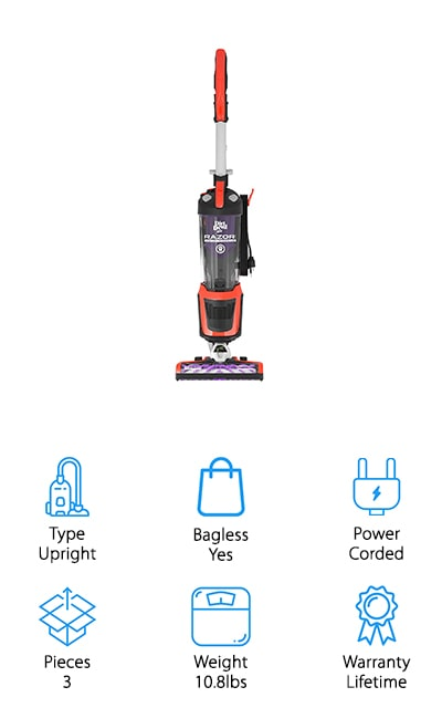 Last but not least, we have this Dirt Devil vacuum for pet hair and hardwood floors. The Razor comes with a 10-foot extended hose so you can reach all sorts of areas outside of the vacuum range. It's an upright vacuum that is made with technology that guarantees there will be no loss of suction over time. It includes a premium brush roll to powerfully clean your entire floor, as well as a 2-in-1 crevice tool and a dusting tool to make sure you're getting the most from your vacuum. This vacuum has swivel steering and a low profile, allowing you to zip around your house, under furniture, and around sharp corners with ease. It works perfectly on dense carpets, low-pile rugs, and hard floors of any type to pick up pet hair and dander as well as fine dust. The dirt cup is extra-large so you can vacuum up more at one time without having to pause.
