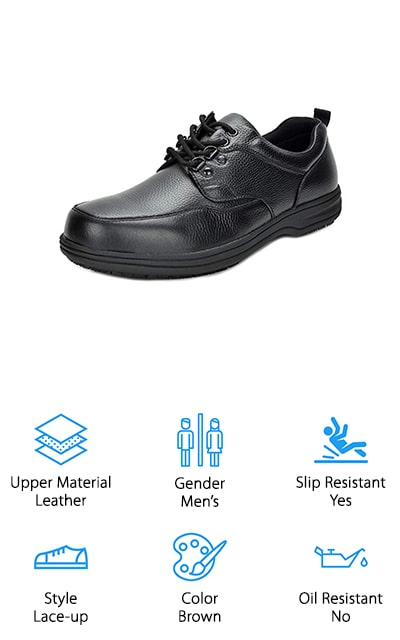 DREAM PAIRS makes these super-stylish men's work shoes that look exactly like business oxfords. If you want the perfect blend of professional look with a casual feel, these shoes are definitely for you. They have a rounded-toe design that makes sure your toes won't rub against the upper, which is made of genuine leather for a great look and feel. They are comparable in comfort to Dansko Men's kitchen shoes, so you know that you're going to feel great wearing them to work. There are several different colors to choose from (variations of black and brown), so you can look great and reap the comfortable reward that these shoes offer. Even after being on your feet all day, your feet are going to feel much better with these shoes. Our favorite part of these shoes is the comfort they offer, while still looking like snazzy Oxfords at the end of the day. No one can tell the difference!