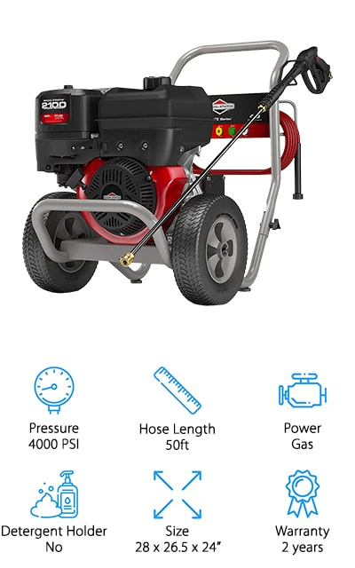 Last on our list is this amazingly powerful pressure washer by Briggs & Stratton. They manufacture their own engines, and this one is a Briggs & Stratton 2100 series gas-powered engine to help you clean all of your outdoor surfaces. It puts out an amazing 4000 max psi, with a maximum of 4 gallons per minute. It can't be beaten. The fuel tank can hold up to 1.75 gallons of fuel, making this pressure washer a true beast. The five quick connect tips include the regular degree nozzles as well as a soap nozzle, and each of them gives you a predefined spray pattern to help with a certain cleaning task. This means that your cleaning is going to be much more effective. You can reach higher and farther away with an amazing 50-foot hose that can hold up to the high pressure. When you want the pure power to blast through dirt and grime, go with Briggs & Stratton.