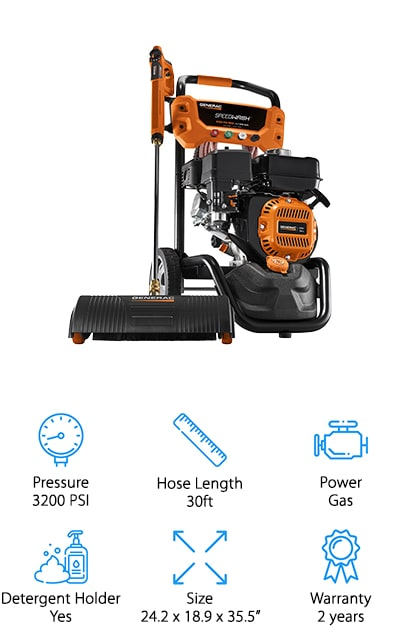 Generac makes this SpeedWash Pressure washer that cleans faster than most other pressure washers. There are four different pressure settings, up to 3200 psi. This includes a setting for car washing, wood washing, concrete washing, and a soap setting for getting everything nice and clean. You can easily switch between them with the dial on the spray gun. It includes a few different attachments, including a turbo nozzle for dirt and grim, a soap blaster that shoots soap up to three times farther than the regular nozzle, and a power broom so it cleans a little bit faster. The engine is a 196 cc gas-powered rig that's manufactured by Generac, so you know that they're going to back it up. The hose is 30-feet long and is resistant to kinks and abrasions. It also includes three angle nozzles and a soap nozzle tip for the best cleaning results. All of your cleaning tasks will be so much easier!