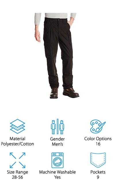 These Propper Tactical Pants come in 16 amazing color options, so you can have a pair for a relaxed weekend outdoors as well as a pair for your work days. They are made of a polyester and cotton blend, with an outer fabric protector of Teflon. This repels all stains and liquid so that your pants can last forever. Even with the additional Teflon, these pants are fade-resistant, shrink-resistant, and wrinkle-resistant. These pants are absolutely amazing, and you're going to wonder how you ever functioned without them. It features YKK zippers that are durable and won't break easily. It even comes with extra-large loops to thread your belt through, so even nylon duty belts are accommodated. Propper really has thought of it all with these pants. The back pockets close with a hook and loop and include smaller pockets within that are perfect for holding your wallet or cell phone. These pants fit like a dream!
