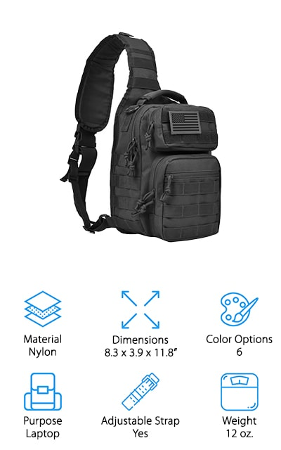 This is likely the best sling bag for travel because it's small enough to take with you wherever you go but also large enough to carry everything you might need. Made with heavy-duty nylon, these bags are durable and also easy to clean. Available in 2 different colors, it's considered a tactical pack that provides you with everything you need for EDC. It also has several different pockets and zippers that will allow you to access and sort everything that you need throughout the day. The water-resistant pack makes a great piece for heading outdoors. With plenty of space for your handguns, your iPad or anything else you might want to take along, this bag can be slung over your shoulder or across your back easily. The adjustable strap is also great for your personal preference.