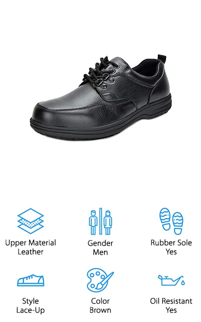 These aren't exactly black high-top non-slip shoes, but they are some great dress shoes that are going to double as your most comfortable pair yet. These shoes are made with genuine leather uppers, which means they're durable, sleek and definitely great whether you're wearing your old blue jeans or your best dress clothes. They come in several different sizes and even feature a rubber sole for added durability. These slip-resistant work shoes are going to keep you safe and make sure you can keep going all day long. The low heel gives them just a little bit more of a dressy or professional edge and the lace-up design makes sure that they're going to fit you comfortably. These oxfords are definitely going to be among your new favorites.