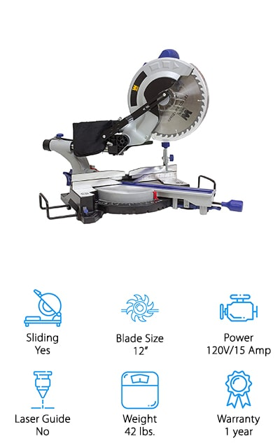 "With this compound miter saw you're getting a sliding rail that makes it even simpler to get right where you want. You get a 12"" blade that can cut through most pieces of wood and just about anything else you might need. On top of that, you have a motor that's 120 volts and 15 amps to provide you with the power that goes along with that blade. This saw gives you plenty of bevel options to both the left and the right and it has 9 positive stops that make it convenient for you. You're going to have a strong and durable blade as well as a high-quality dust bag that helps you keep your space a whole lot cleaner and ready for the next project. Not only that but support fences and workpiece extensions keep your project where you want it while you cut."