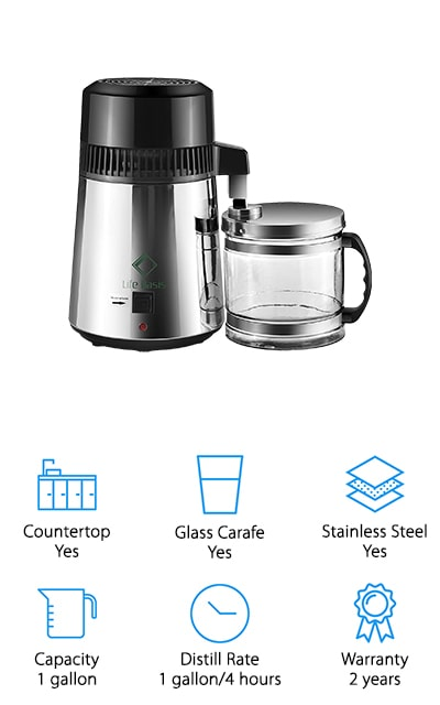 The Life Basis Water Distiller is made of high-quality stainless steel, both inside and out and looks great sitting on your kitchen counter. It includes a glass collection container and has a food-grade silicone water outlet cath so you never have to worry about your water coming in contact with any plastic. There are some other great features, too, like an indicator light to tell you when it's running, a non-skid base, and ventilation holes that protect against overheating. This water distiller produces about 1 gallon of water every 4 hours and turns off automatically when it's done. That's not all, it even includes 5 carbon filter bags that last about a month each so you'll have plenty of supplies to get you started right away.