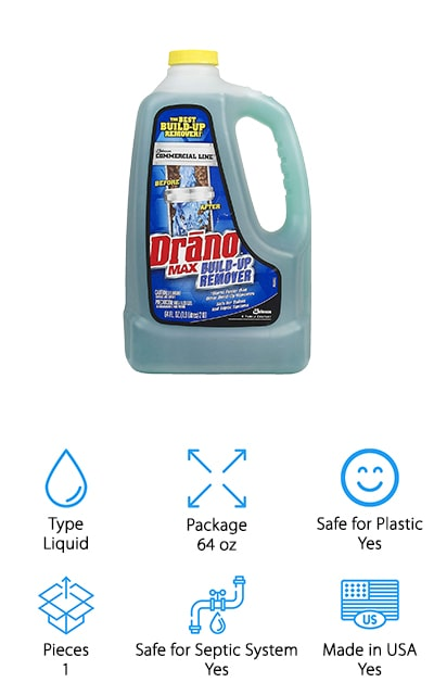 If you have a slow-moving drain that's still working and you want to try to stop a clog before it happens? If so, Drano Max Build-Up Remover might be just the product you need. It contains natural enzymes and bacteria that work to eat away at buildup. This is a great product if you're looking for something to use preventatively. For example, if you consistently have problems with drains clogging because of hair, you can use this product once a month to help break down the buildup that causes clogs before they happen. While this product doesn't actually clear clogs, it's one of the best ways to prevent the problem in the first place. It prevents septic system backup and is so safe for your pipes that you can leave it overnight if necessary.