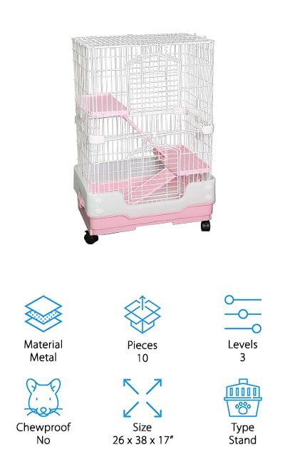 Our last pick for best chinchilla cage for sale is the Homey Pet Small Animal Crate. This is a tall tabletop cage that features a large base and 2 balcony levels to give your chinchilla a lot of room to explore. There's also a urine guard at the bottom that separates your pet from the pull-out tray and helps keep your floors clean. The trays and ramp are made of chew-proof plastic as is the bottom tray while the top is made of white metal wire that has a non-toxic powder-coated finish that keeps your pet safe and prevents the metal from rusting or corroding. If you're looking for a stand-style cage that will fit into your budget, this one is a good choice. Plus, it's available in 3 different colors: blue, pink, and brown.