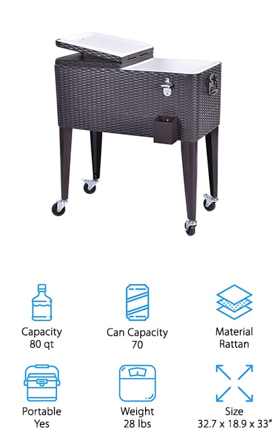 Last up is the Giantex Rolling Cooler Cart, a great choice if you want to take your backyard parties to the next level. This rattan cooler cart features 4 multi-directional wheels for easy mobility. To make sure it doesn't get knocked over or pushed around during the party, 2 of the wheels lock to provide greater stability. It features a built-in bottle opener and cap catcher that are super convenience while also helping reduce the time you'll spend cleaning up. There are 2 side handles for easy movement and dual top lids so you can access the cooler without letting all the cold air out. This cooler holds 70 cans or about 50 bottles and can keep food and drinks cold for up to 36 hours.