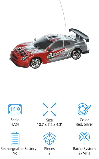Last up is this 1:24 scale PowerTRC Drift Car. This is a great choice if you're looking for something on a small scale that includes a lot of great features for a fun-filled drifting experience. The car uses 4 AAA batteries and the easy-to-use remote control uses 2 AAs. It comes with 2 different sets of tired, smooth for when you want to focus on drifting and rubber to give you a little more grip on different terrain. Even though it's small and affordable, it's fully functional, fast, and very responsive, performing both U-shaped drifts and figures 8's with ease. That's not all, there are working headlights, backlights, and bottom sidelights, too, which look great next to the red and silver styled body.