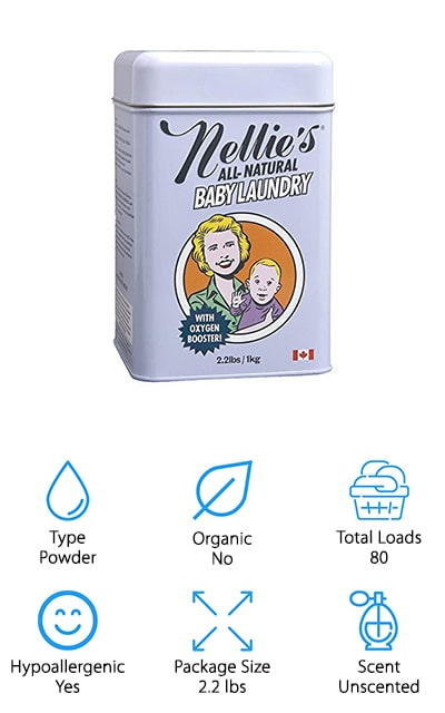 Last up is the best baby detergent for sensitive skin in powder form, Nellie's All Natural Laundry Detergent. This non-allergenic, fragrance-free formula not only gets you little one's clothes clean, but it also makes them whiter and brighter, too. It's safe to use on just about anything including hard-to-clean messes like cloth diapers and burp cloths. The ingredients are derived from plant and mineral based ingredients that don't leave behind any residue. All of Nellie's products are in powder form because they don't believe that shipping and selling water is fair to their customers or the environment. Why add water when the washing machine already does that? This powder is so concentrated that you only need to use about a tablespoon per load. That's means you get more cleaning power in a smaller space.