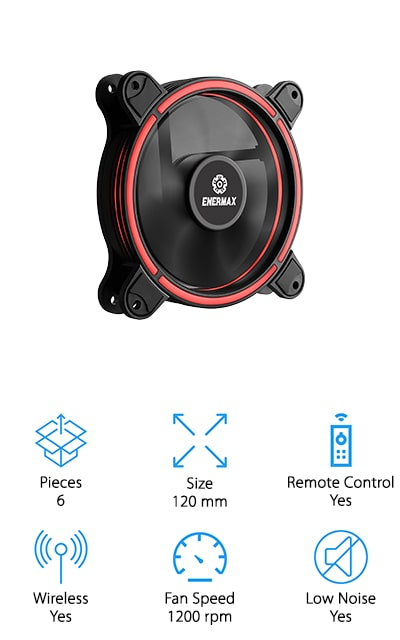 Our last pick for best RGB case fans is the Enermax T.B. RGB Case Fans. They feature a unique halo shape design that creates a gorgeous visual effect that provides consistent and uniform brightness. This is a good choice if you're looking for something you can eventually upgrade, too. The control box supports up to 8 RGB fans and 2 LED devices so you can really create something special. Shockproof rubber pads help minimize vibration which helps maintain practically silent operation. If you've even seen the inside of a PC, you know how much dust can pile up. With these fans, you can easily detach the blades for more thorough cleaning when the time comes. One more thing, it comes with a remote control that lets you cycle between different colors, modes, and speeds.