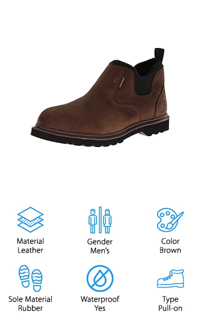 A really awesome pair of slip-on work boots is the Carhartt Romeo Pull-On Boot. They're also one of the most stylish boots we included on our list. You can actually wear these as a casual shoe if you wanted to but they are definitely tough enough for the job site. First of all, they're waterproof which makes them great for wet or muddy floors but keep in mind that they are a low boot that comes up to the ankle so you probably shouldn't submerge them. This boot also features high-quality, bonded welt construction that provides both flexibility and durability. The upper is made of a combination of oil-tanned leather and neoprene so they're really durable and easy to get off and on while the cushioned insole helps your feet stay extra comfortable.