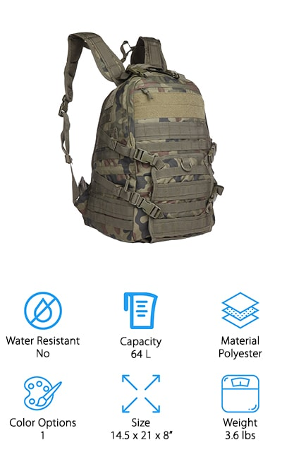 The best small tactical backpack we found in our research is this Modern-depo Tactical Backpack. It's made of high-quality denier material and uses oversized zippers and tabs to make sure everything is kept safe and secure right where it should be. The main compartment expands from 5 to 10-inches to and the Molle system allows you to customize the pack for your needs. There's are water bottle mesh side pockets, 2 small electronics pockets on the shoulder straps, and a top pocket for small things like earphones or even jewelry. This is a great choice for use with a rifle, too. A lower flap folds down to receive the butt of the rifle and the top handle can also be used to secure the barrel while on the move.