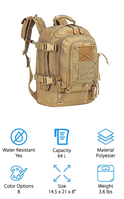 Last but not least is the Wolf WarriorX Military Backpack. This is a great addition to your survival gear because it has a phenomenal amount of storage and organization capacity. There's seriously a place for everything. The main compartment expands from 5 to 10-inches so there's plenty of room for large gear. There are also 2 accessory pockets, a water bottle mesh pocket, and 2 electronics pockets as well as a daisy chain belt where you can attach additional gear. That's not all, the high-cushion back pad and shoulder straps are breathable and help to spread out the weight of the pack to take the pressure off your shoulders. This item comes with a 100% satisfaction lifetime guarantee, too. What do you have to lose?