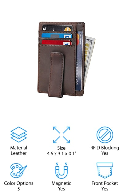 Beartwo makes this leather money clip wallet with 100% genuine materials. This means that it's a durable, smooth wallet that's going to last you forever. It's classic and is made with solid stitching to get you through anything. It's thinner than your other wallets, which makes it lightweight and compact as well as convenient. It's got advanced RFID technology due to the unique metal composite shield that it uses, so your information stays private. There are 8 card slots on the inside, as well as one ID window for your license as well as a clip to hold onto your cash with a powerful magnet to make sure it stays that way. The magnets are not strong enough to impact your cards or phone, so don't worry! Giving it as a gift? It comes with its own gift box when you order, so you can wrap it up right out of the package. You're going to love it!